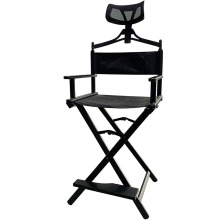 Foldable Tall Black Aluminum Professional Cosmetic Make-up Chair