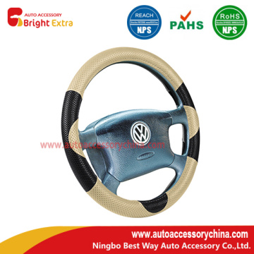 Black And Beige Steering Wheel Cover