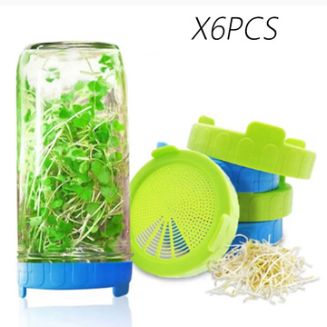 6pcs Sprouting Lid Food Grade Mesh Sprout Cover Kit Seed Growing Germination Vegetable Silicone Sealing Ring Lid For Mason Jar