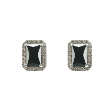 925 Silver Stud Earrings with Black CZ