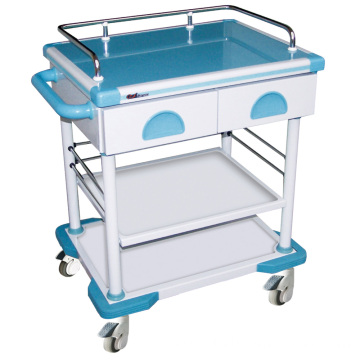 Hospital Steel Artificial Marble 2-Drawer I.V. Trolley