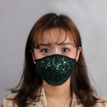 Green Sequin Mask Protective Face covering