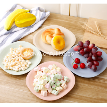 Square Wheat Straw Plastic Plates for Home
