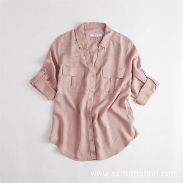 Ladies Long Tencel Short Sleeve Shirt