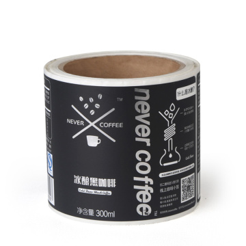 Adhesive coffee food beverage packaging roll sticker