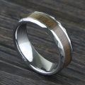 Tungsten Carbide Wedding Band Ring With Wood Inlay