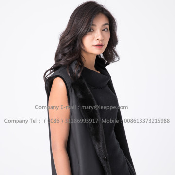 Women Black Fashionable Women Mink Vest
