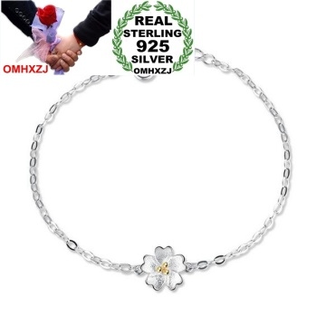 OMHXZJ Wholesale Simple Fashion Sweet Woman Girl Party Gift Golden Fresh Cherry Flower 925 Sterling Silver Bracelet Bangle SZ118