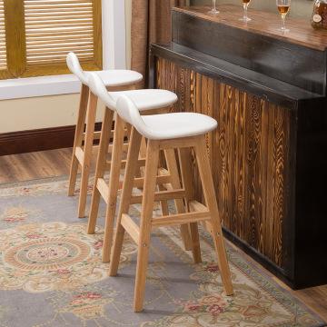 Nordic Solid Wood Bar Stool Chair Creative Backrest High Stool Modern Minimalist Bar Chair European Retro Bar Stool