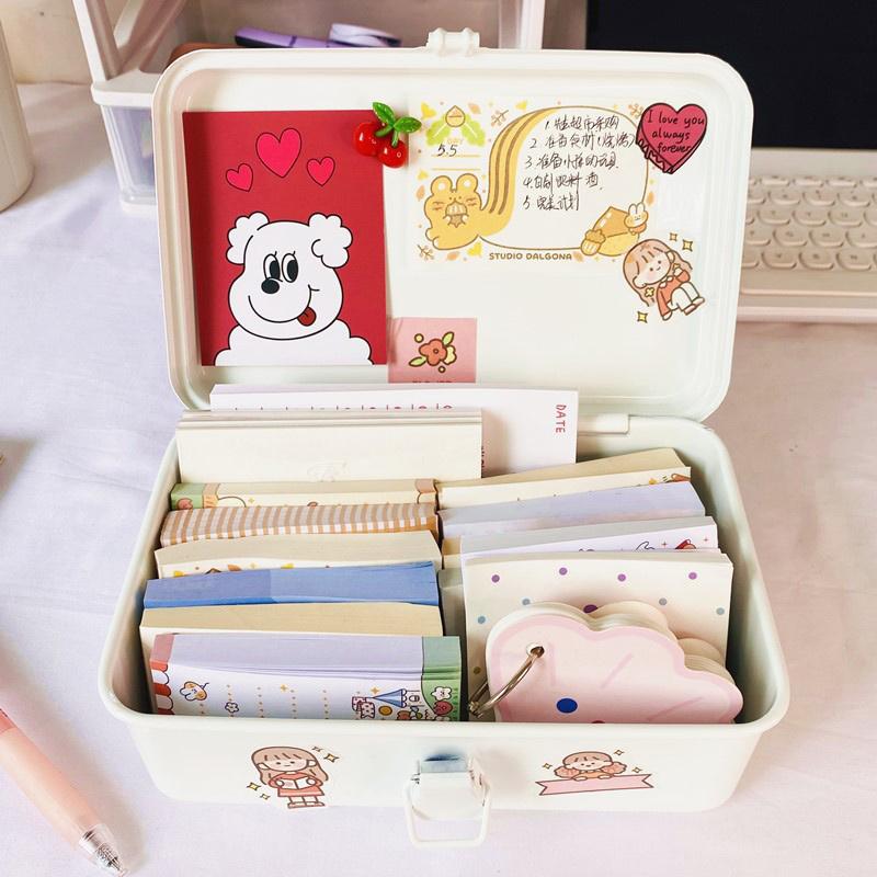 Hand book tape seal notes desktop stationery storage box retro tin box office supplies desk accessories stationery organizer