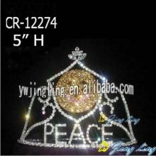 Custom Rhineston Peace Pageant Crowns With Sunshine