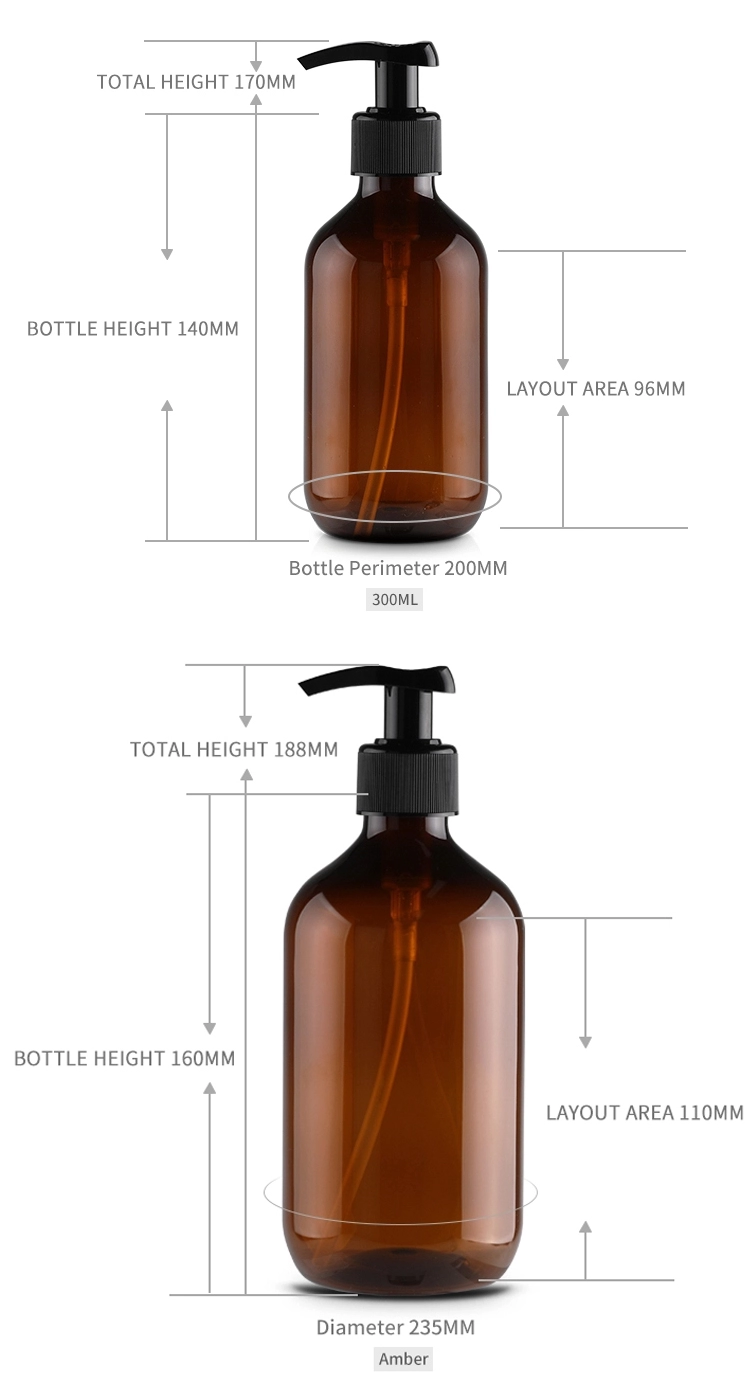 Wholesale Green Brown Empty Body Lotion Pump Bottle Eco Friendly Travel 300ml 500ml PET Plastic Shampoo Lotion Bottle