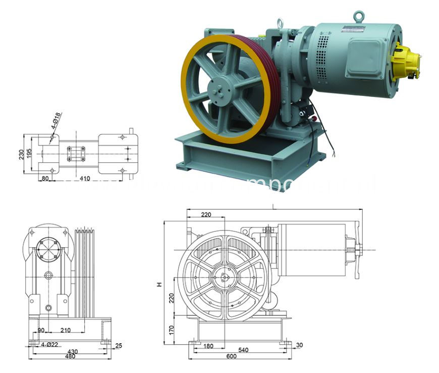 AC380V Elevator Gear Driving Machine