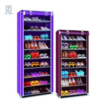 9 Tiers Portable Shoe Rack Closet with Fabric Cover Shoe Storage Organizer Cabinet