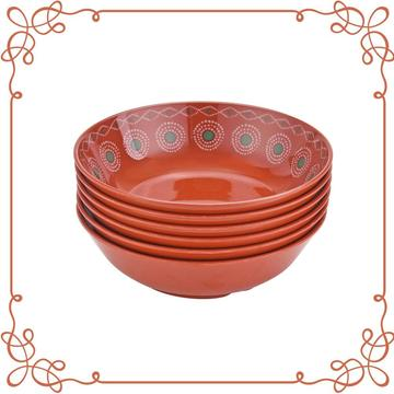 "7.5"" Melamine Shallow Bowl Set of 6"