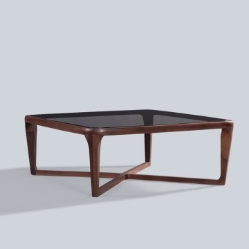 Solid Wood Frame Tea Table with Glass