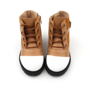Brown And White High Top Baby Boots