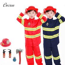 Fireman Sam Uniforms Set Fireman Suit Girls Firefighter Costume Hat Firefighter Helmet accessories Party Suit for Boy Kids