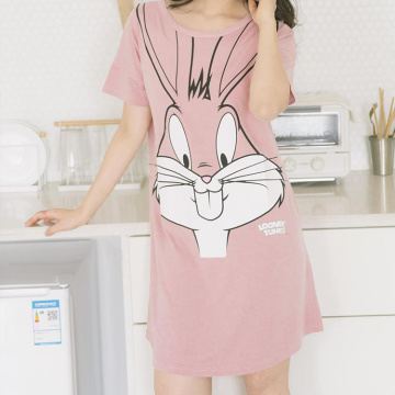 Style loose summer breathable cartoon printed pajamas