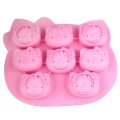 8 Faces Pink Novelty Silicone Icing Molds