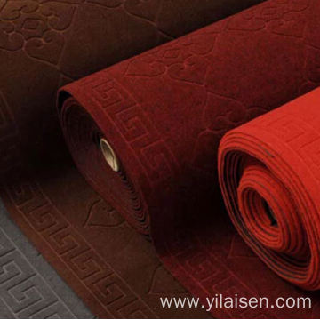 Red Embossed Antislip Cushion Mat Polyester Floor Mat
