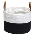 Braided Cotton Rope Storage Woven Basket Leather Handle