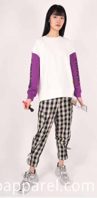 LADIES MID RISE CHECK JOGGERS