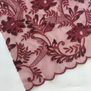 Burgundy Sequin Embroidery Fabric For Garment