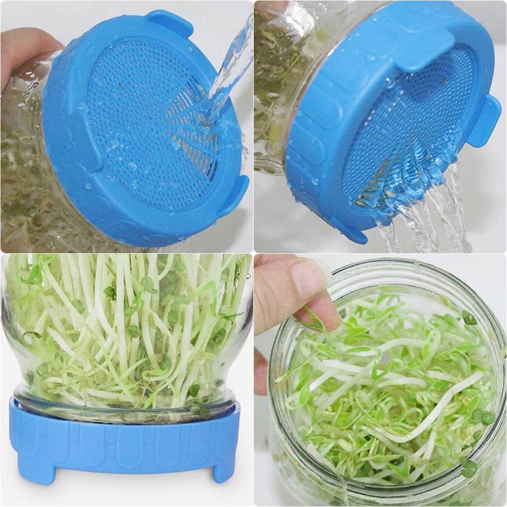 1pcs Food Grade Mesh Sprout Cover Kit, Seed Crop Germination, Vegetable Silicone Sealing Ring Lid for Mason Jar