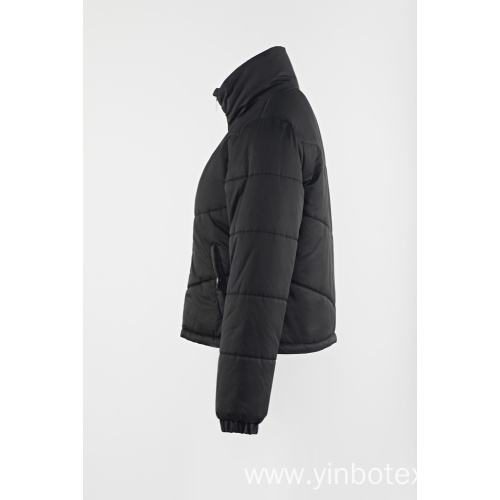 black padding zipper coat with Stand collar