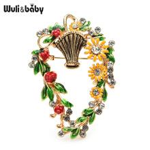 Wuli&baby Enamel Basket Flower Brooches For Women Beauty Flower Weddings Office Brooch Pins Gifts
