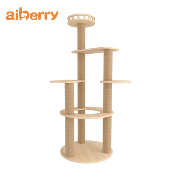 Diy Cat Wooden Climbing Tower Scratcher Tree