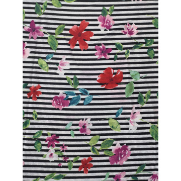 Stripe Flower Polyester Bubble Crepe Printing Fabric