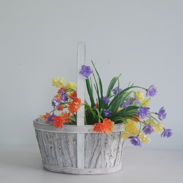 round wood bark flower basket