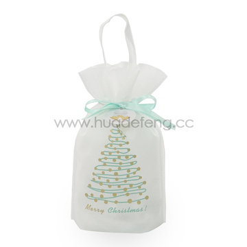 White Non-woven Christmas Tree Handle Drawstring Wine Bags