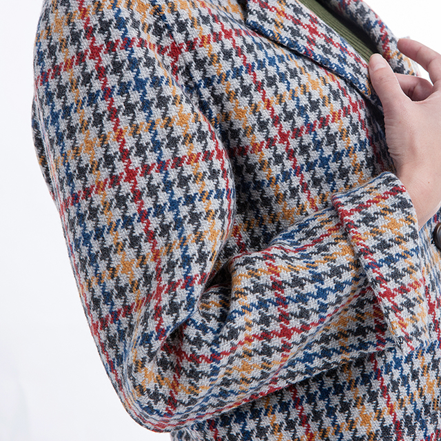 Cashmere Overcoat Thousand Birds Checked Fashion