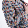 Fashionable thousand-bird checked cashmere overcoat