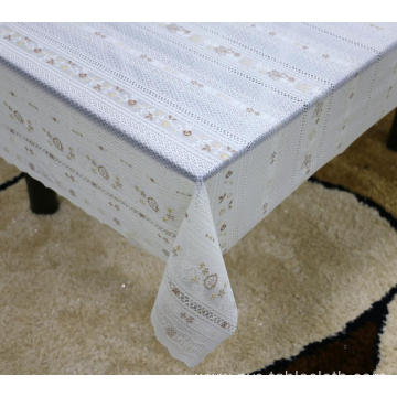 Printed pvc lace tablecloth by roll umbrella