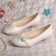 Closed Toe Ivory Wedding Flats for Bride