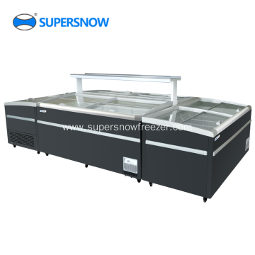 Commercial supermarket glass door deep display freezer