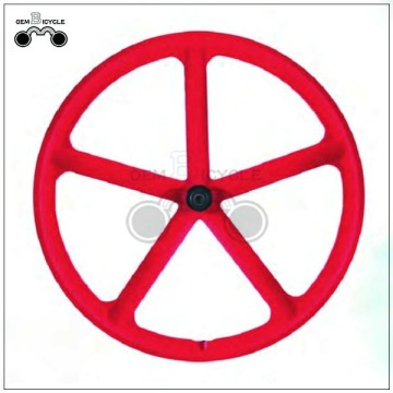 Red 5 spoke bicycle 700c mag wheel