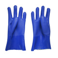 Blue PVC Dipped gloves sandy finish 11inch