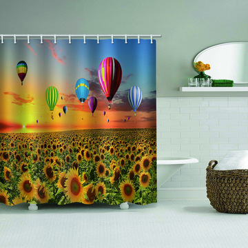 Sunflower Hot Air Balloon Waterproof Shower Curtain Bathroom Decor