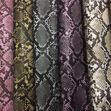 Custom Color Abrasion-Resistant Snake Skin Leather for Bags
