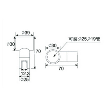 T Connector for Shower Glass Screen Support Bar