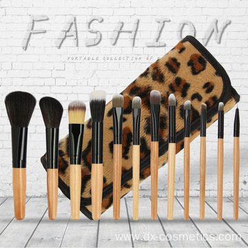 12Pcs Leopard Gold Wood Nylon Makeup Brush Set