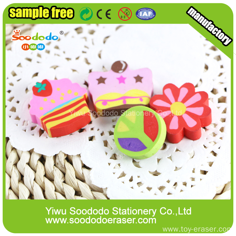 Cake extruded flat eraser ,customed mini extruded eraser