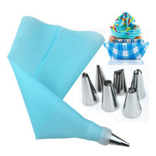 8PCS/set Silicone Icing Piping Cream Pastry Bag + 6 Stainless Steel Cake Nozzle DIY Cake Decorating Tips Fondant Pastry Tools
