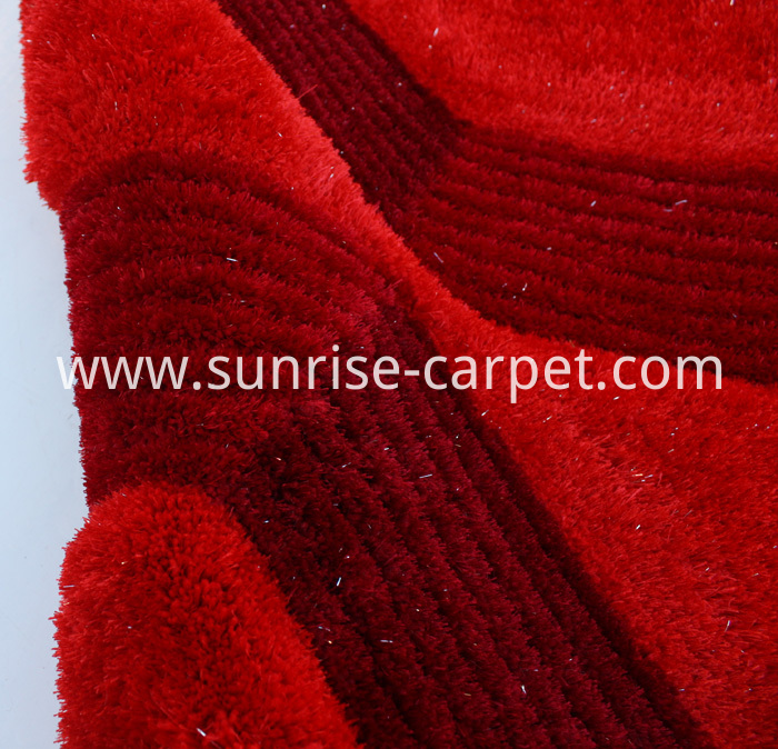 Silk 3D & 4D Shaggy Rug Red