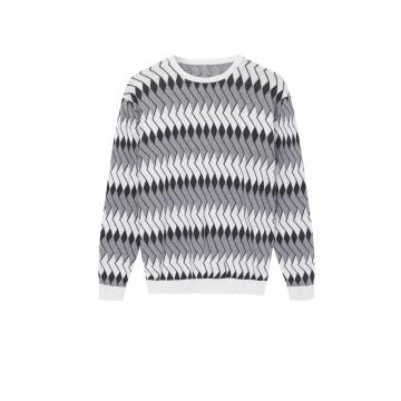 Men's Knitted Jacquard Crew-Neck Pullover